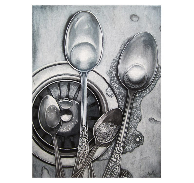 """SPOONS & BUBBLES stainless steel sink still life painting"" original fine art by Linda Apple"