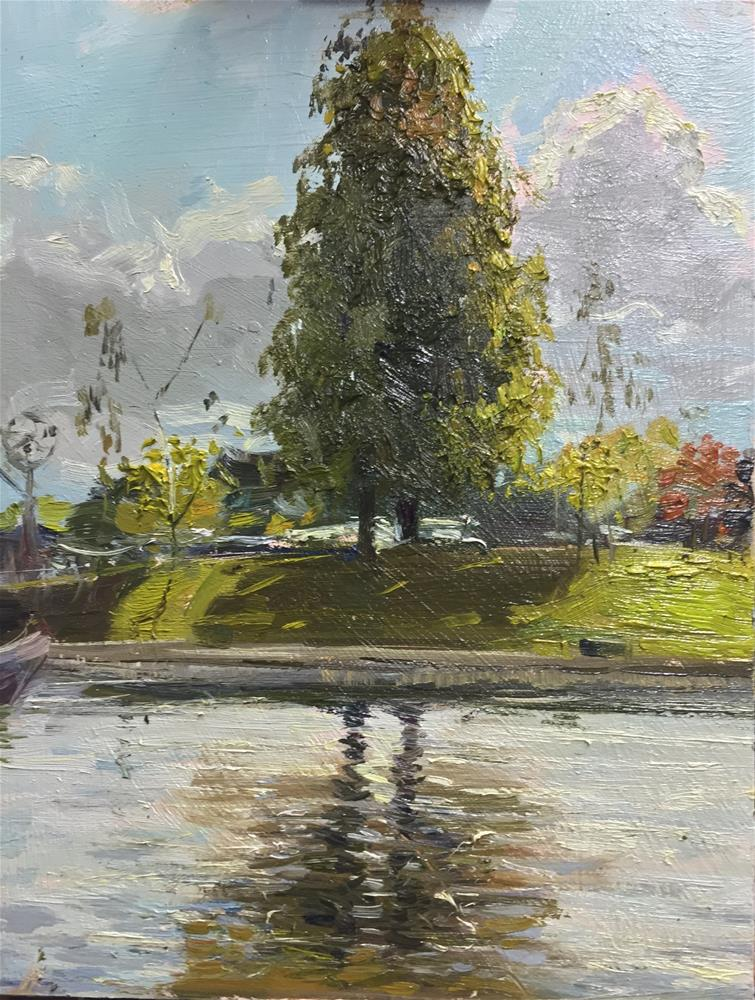 """Twin Tree Reflections, Ely"" original fine art by Adebanji Alade"