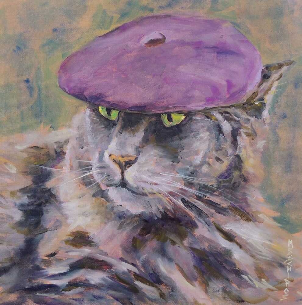 """Cool Cat"" original fine art by Mary Schiros"