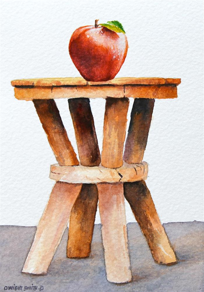 """"""" VINTAGE STOOL WITH APPLE """" original fine art by Dwight Smith"""