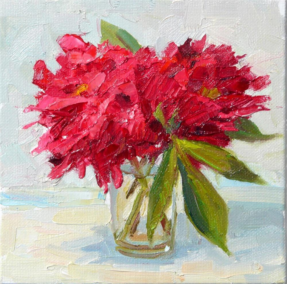 """Red Peonies #2,still life,oil on canvas,6x6,price$200"" original fine art by Joy Olney"