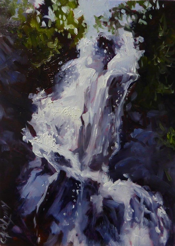 """Waterfall, Juan de Fuca Trail"" original fine art by Carolynn Doan"