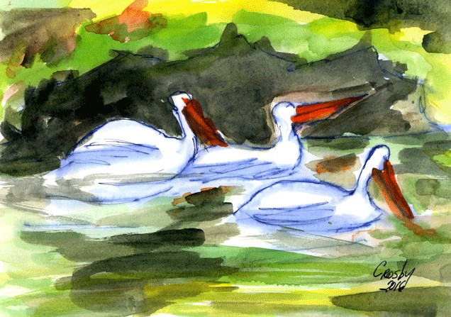 """Dining Together"" original fine art by Donna Crosby"