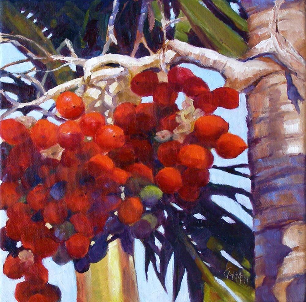 """Christmas Palm, 12x12 Oil on Canvas"" original fine art by Carmen Beecher"
