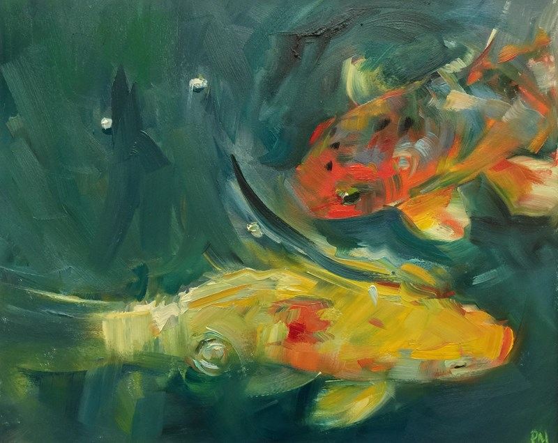 """Koi Passing in the Night"" original fine art by Patti McNutt"