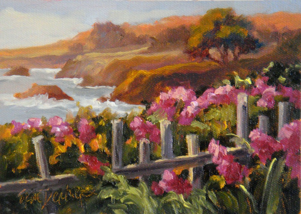 """Wild Sweet Peas and Surf"" original fine art by Erin Dertner"