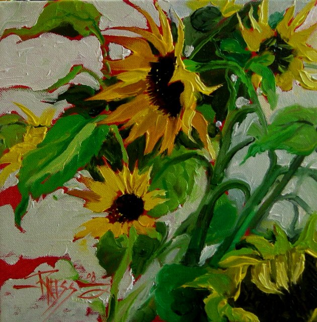 """Sunflower Rescue  oil on canvas"" original fine art by Robin Weiss"