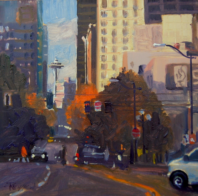 """Needle View  Space Needle, Seattle city scenes in oil."" original fine art by Robin Weiss"