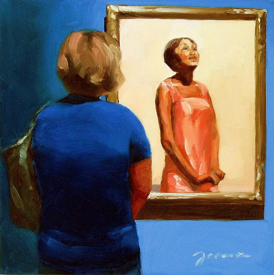 """""""The Listener-- Painting People in Museum/Gallery Series"""" original fine art by Joanna Bingham"""