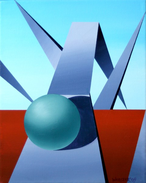 """Mark Webster - Abstract Geometric Sphere Track #1 Painting"" original fine art by Mark Webster"