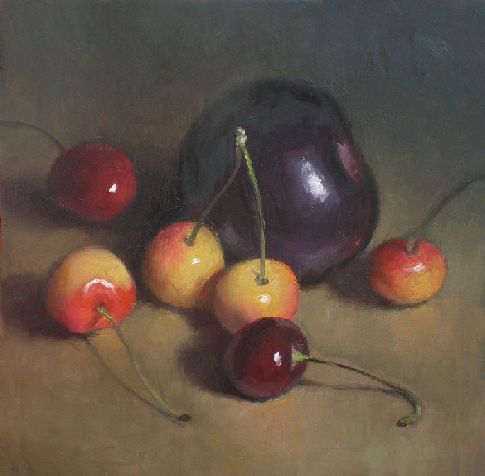 """Cherries and Black Plum"" original fine art by Debra Becks Cooper"