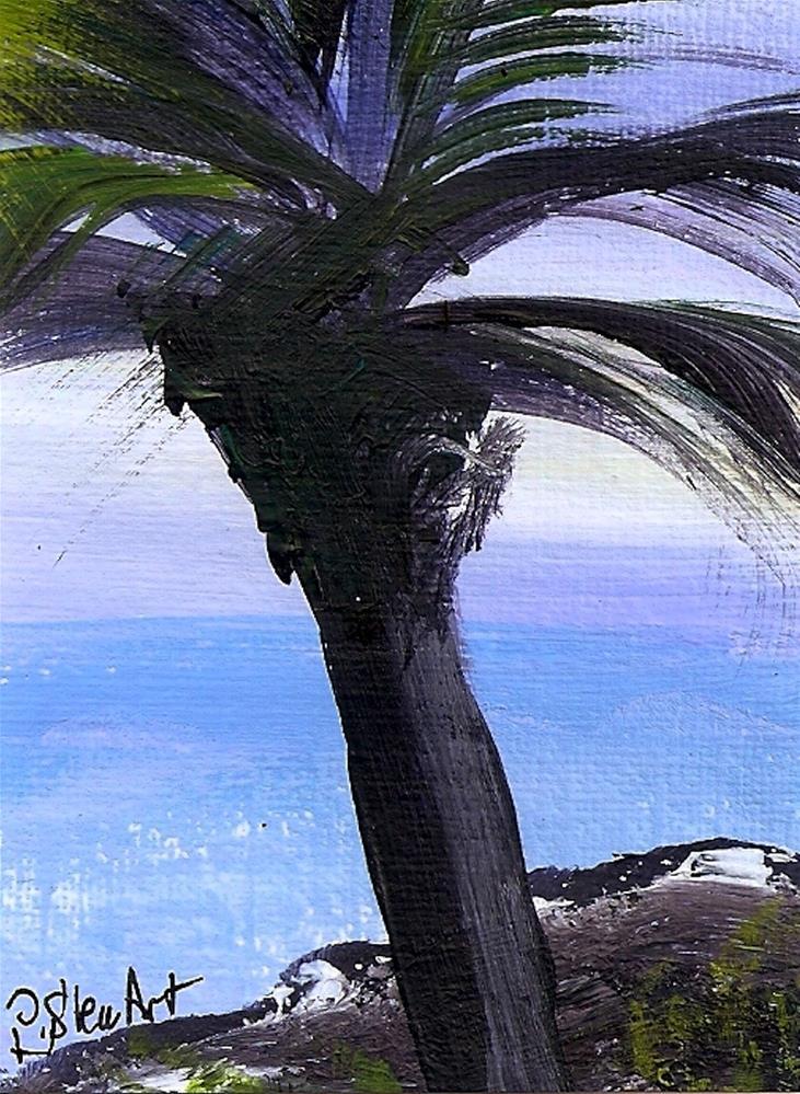 """""""ACEO Palm Tree Silhouette Ocean Seascape Art Rocks Landscape Penny StewArt"""" original fine art by Penny Lee StewArt"""