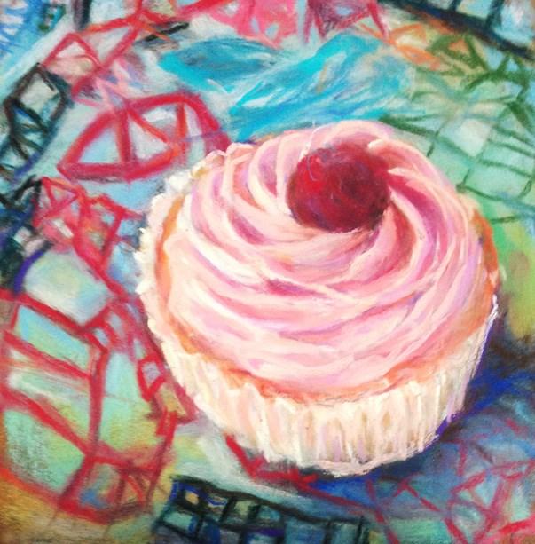 """""""ZOE'S BLING 2 - 6 x 6 pastel cupcake art by Susan Roden"""" original fine art by Susan Roden"""