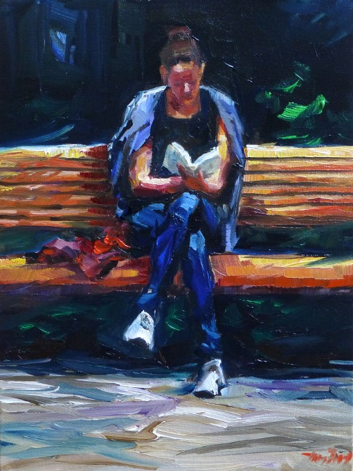 """read on"" original fine art by Jurij Frey"