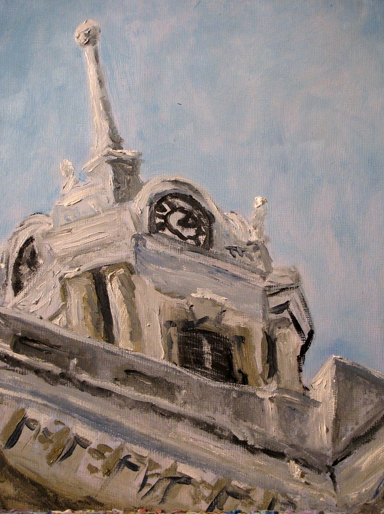 """Columbia Courthouse on a Clear Day"" original fine art by Susan Elizabeth Jones"
