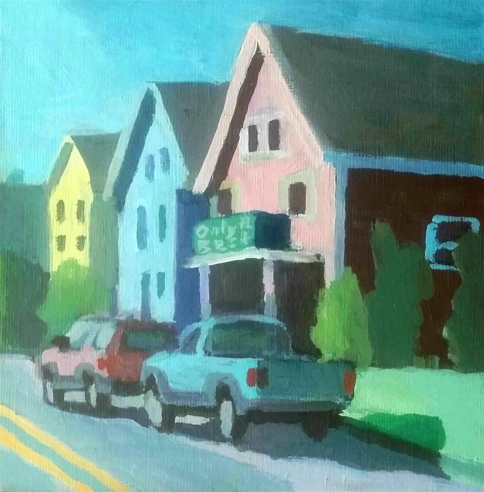 """Parked At Only the Bestpizza -West Haven"" original fine art by Liz Maynes"