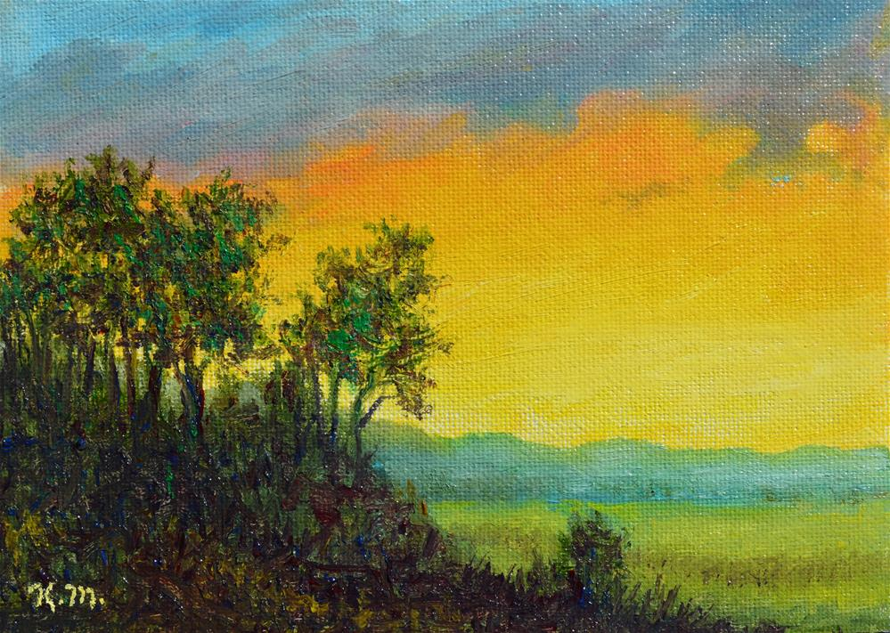 """Farm Field at Sunset (C) 2016 by K. McDermott"" original fine art by Kathleen McDermott"