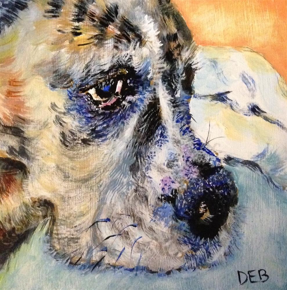"""Tired Old Dog"" original fine art by Debbie Yacenda"