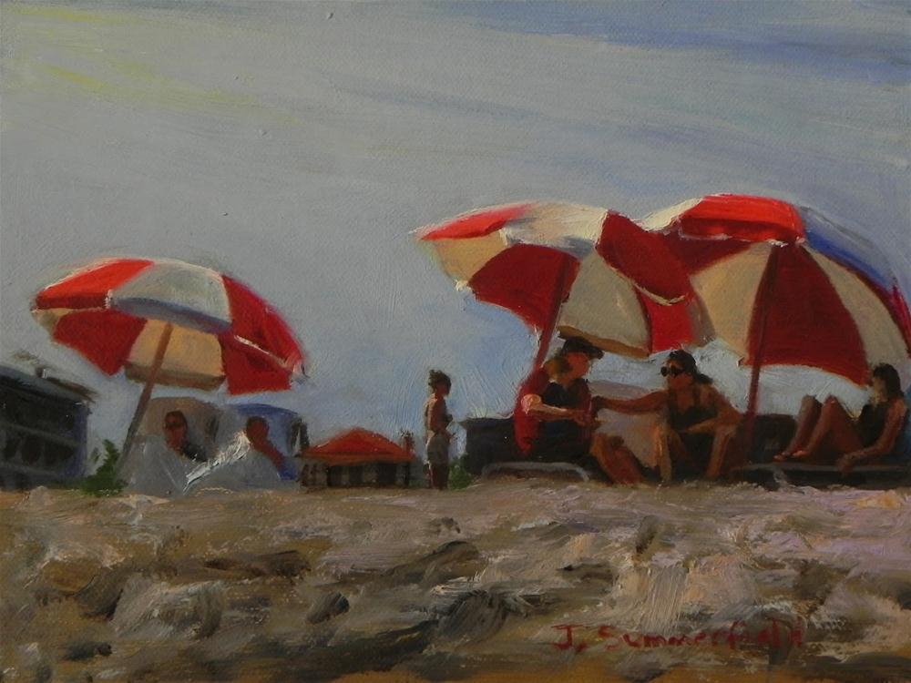 """Cape May Umbrellas"" original fine art by Jonelle Summerfield"