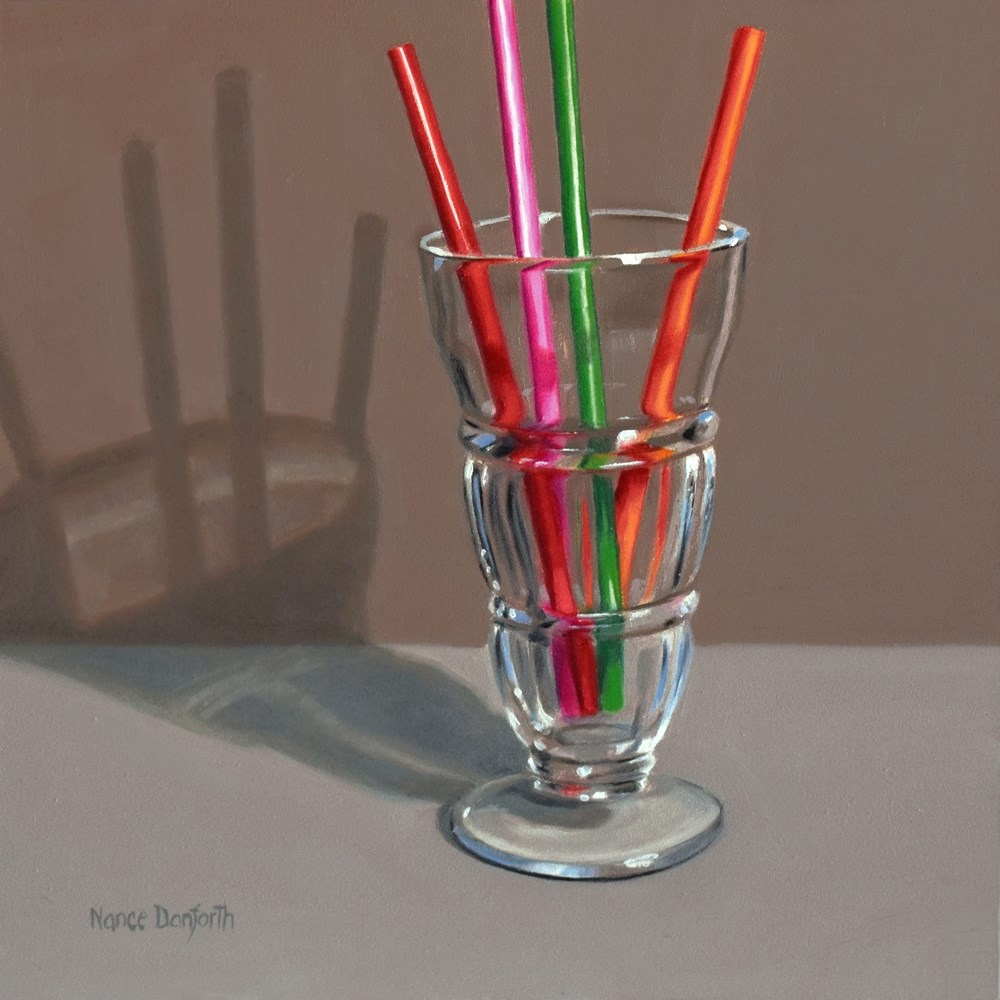 """Malt Glass with Colored Straws"" original fine art by Nance Danforth"