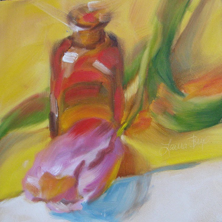 """Single Tulip - 331"" original fine art by Laura  Buxo"