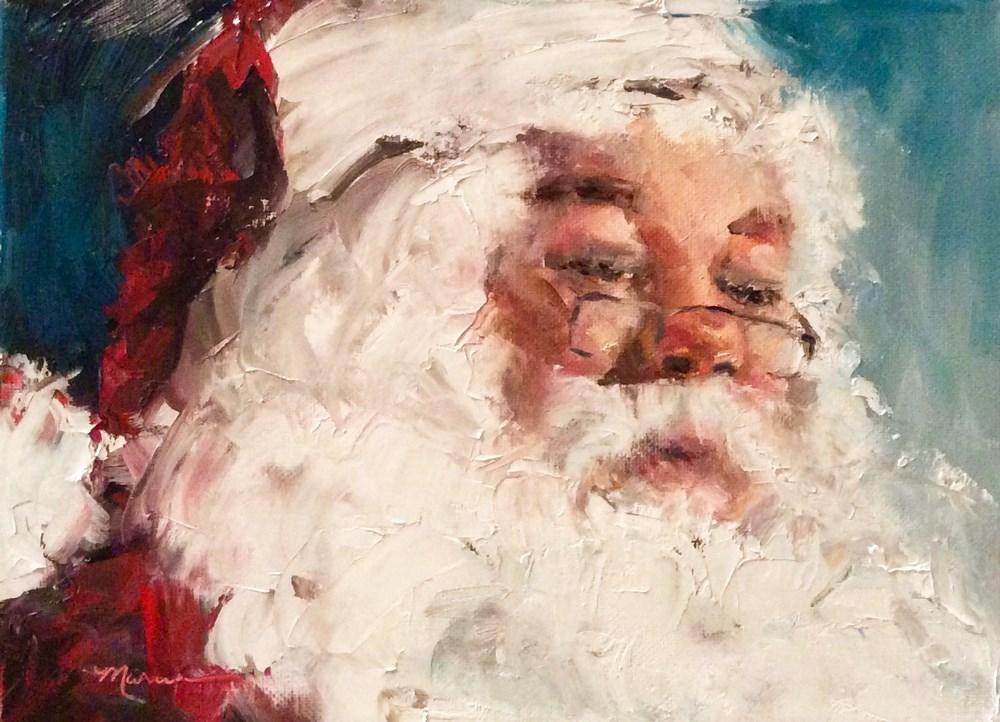 """""""Santa Checking His List Again"""" original fine art by Marcia Hodges"""