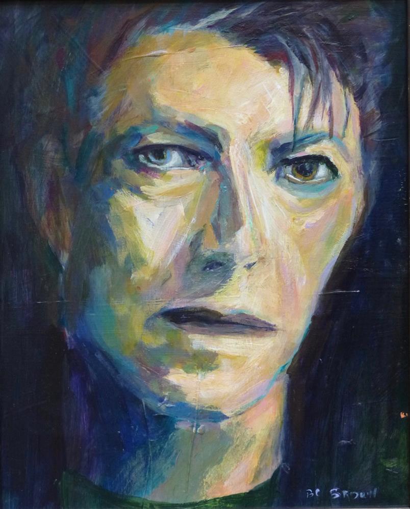 """David Bowie Blue 8 x 10"" original fine art by Beth Carrington Brown"