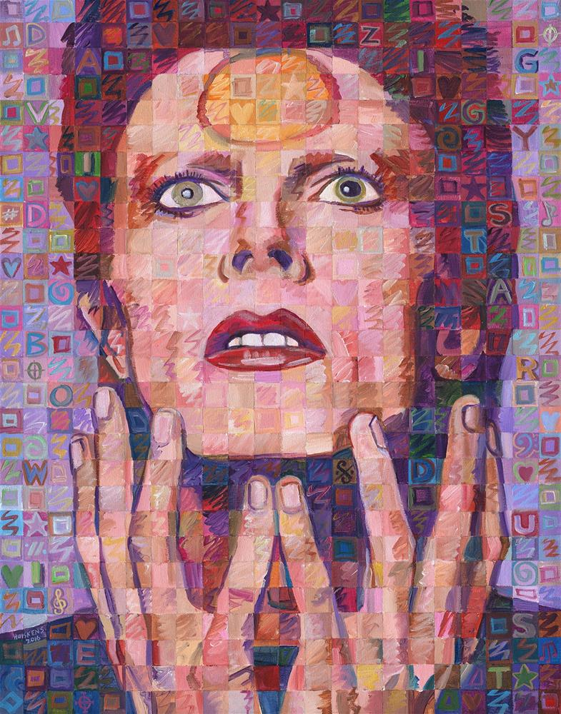 """David Bowie (Ziggy Stardust) #2"" original fine art by Randal Huiskens"