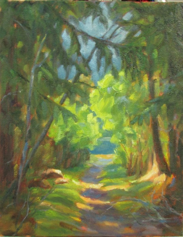 """Through the Woods"" original fine art by Christine Lewis"