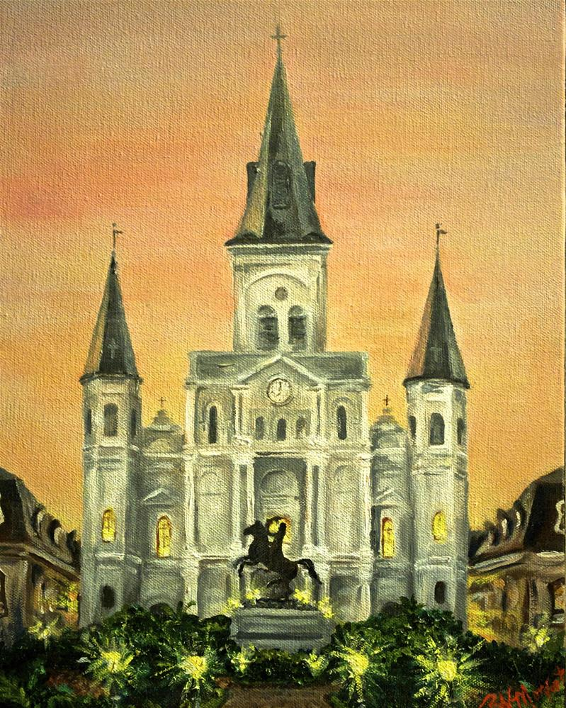 """Cathedral at Dusk"" original fine art by Peggy W Morvant"