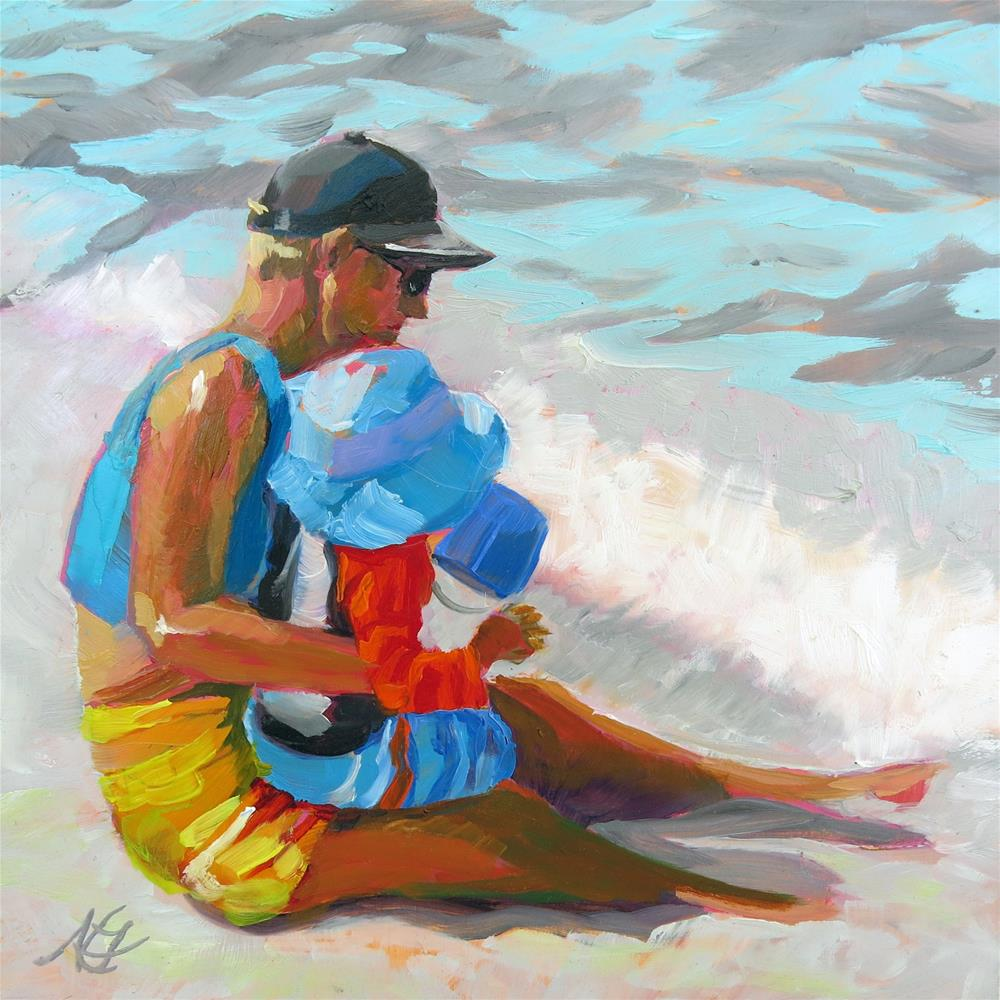 """Father and Son in the Surf"" original fine art by Nancy Fairchild"