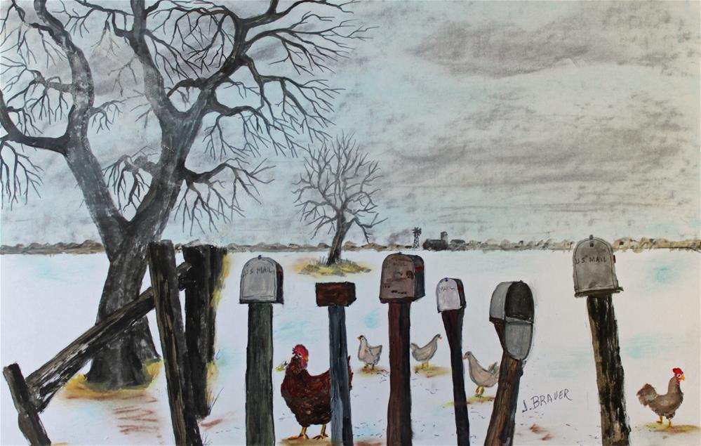 """Neighbors Meeting Place     160917"" original fine art by Jack Brauer"