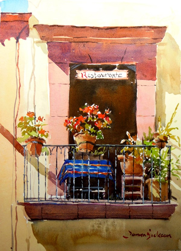 """RESTAURANT ON HIDALGO"" original fine art by Donna Dickson"