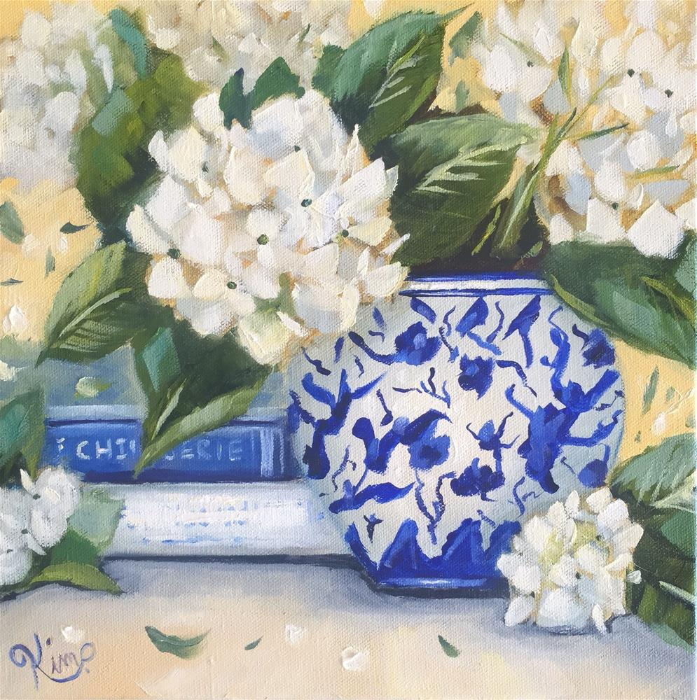 """Hydrangea Still Life with Blue and White Vase and Books"" original fine art by Kim Peterson"