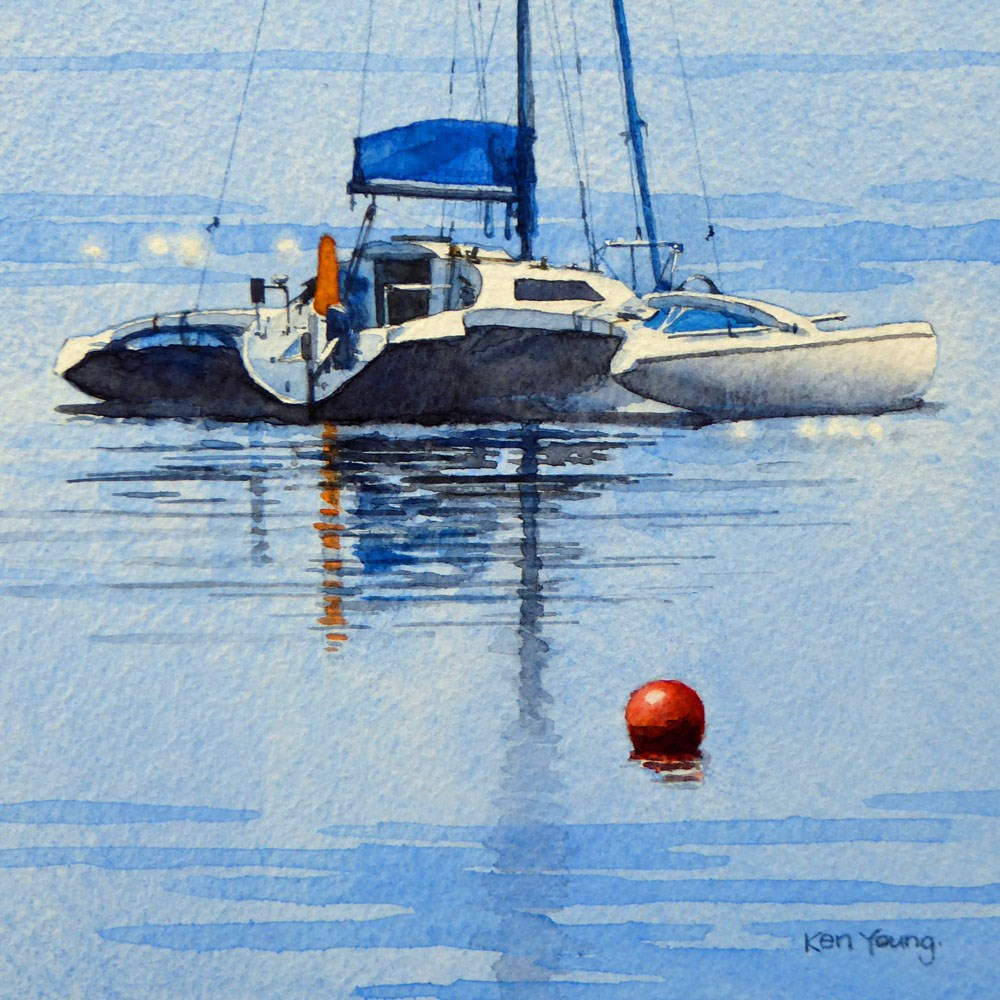 """Catamaran"" original fine art by Ken Young"