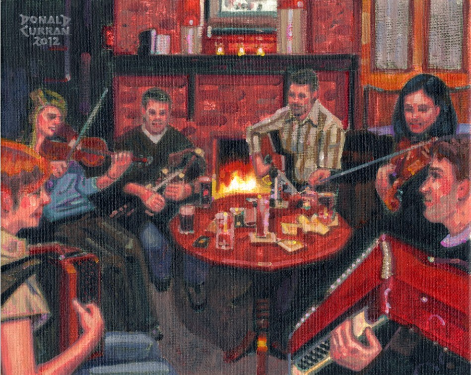 """Warm Irish Pub"" original fine art by Donald Curran"