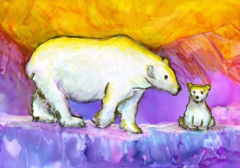 """Polar Bears at Sunset"" original fine art by Francine Dufour~Jones"