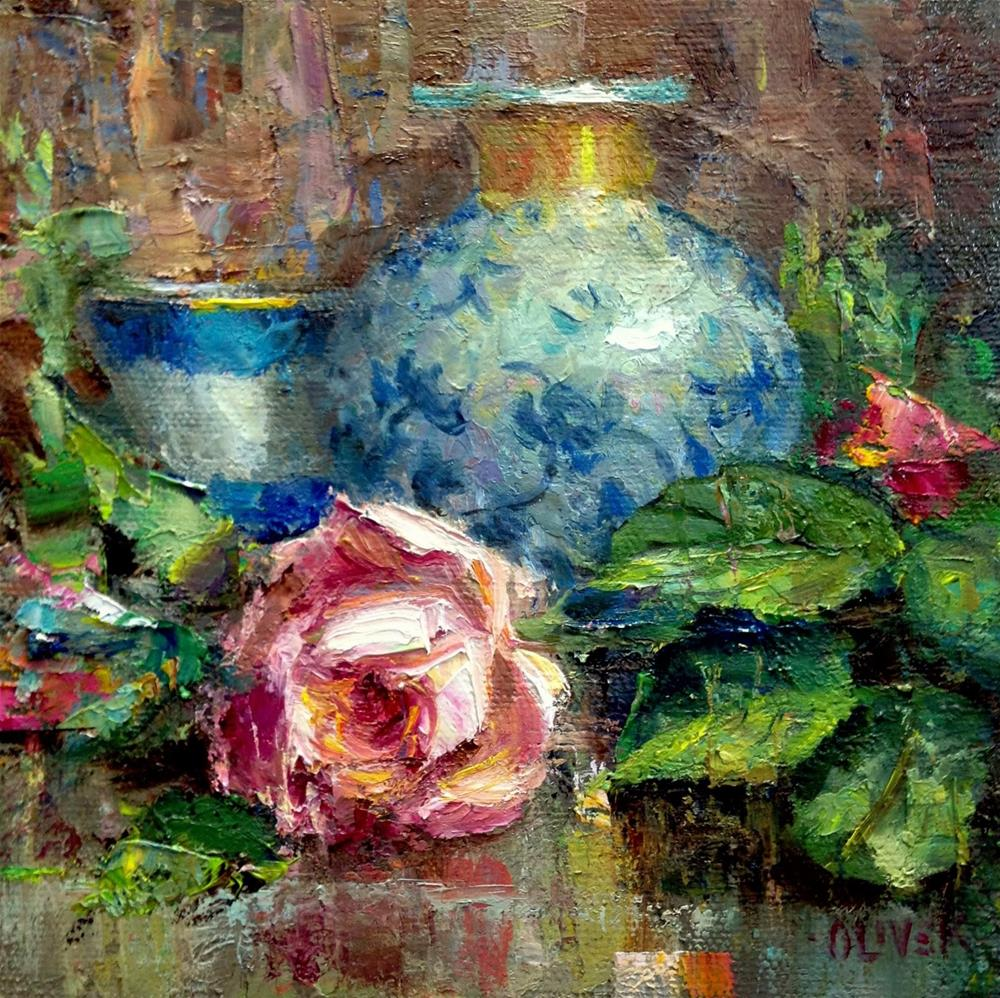 """Rose and Porcelain"" original fine art by Julie Ford Oliver"