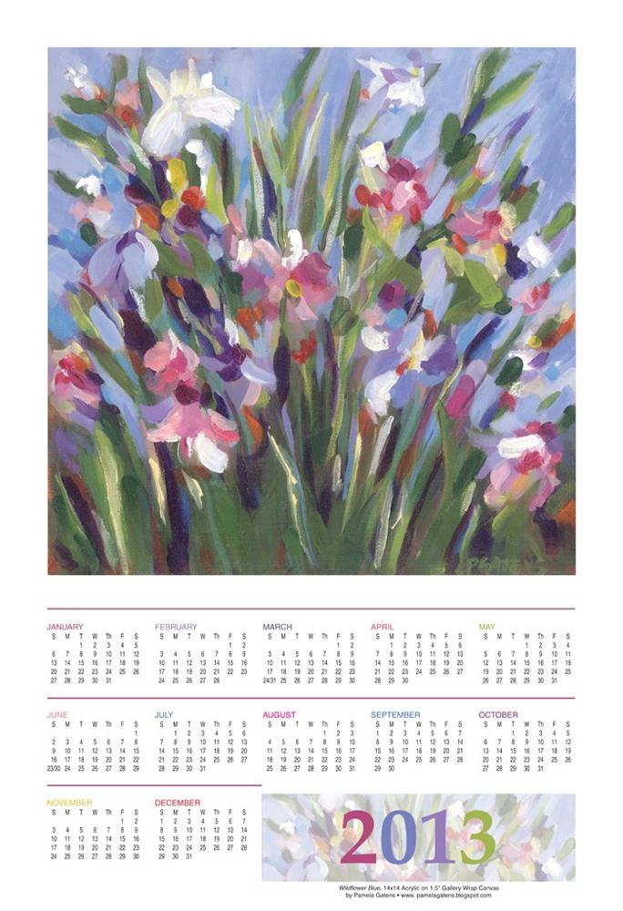 """2013 Wildflower Blue Poster Print Calendar 13x19"" original fine art by Pamela Gatens"