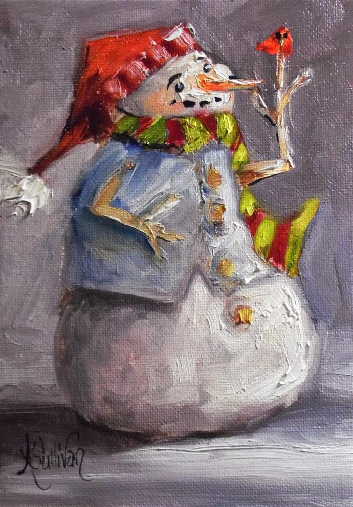 """A Snowman's Heart snowman painting by Alabama Artist Angela Sullivan"" original fine art by Angela Sullivan"