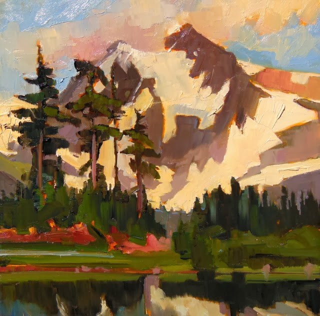 """Mount Shuksan from Picture Lake at Artists Point, plein air, oil, landscape painting by Robin Weis"" original fine art by Robin Weiss"