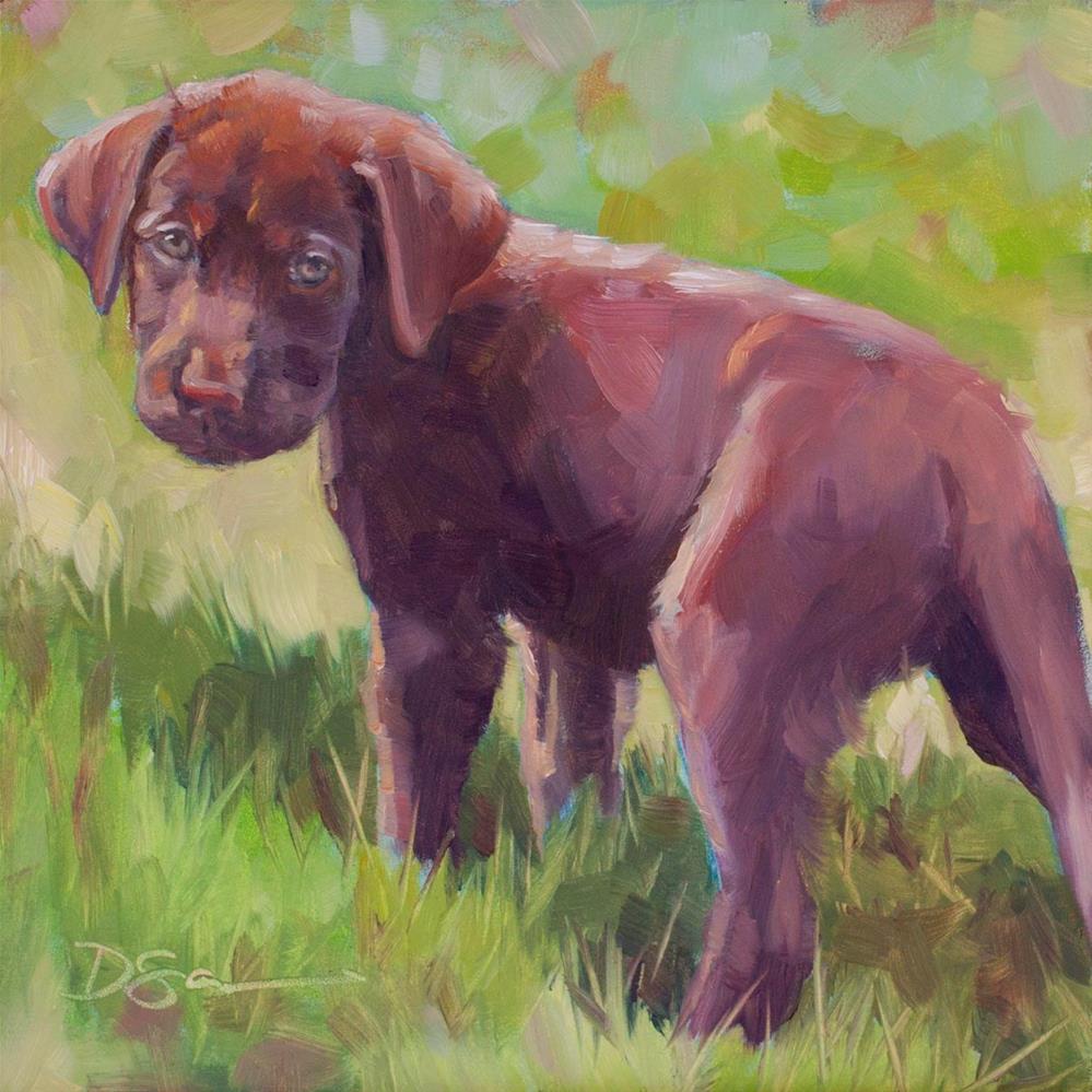 """Eyes of Love No. 6 Remi Puppy"" original fine art by Deborah Savo"