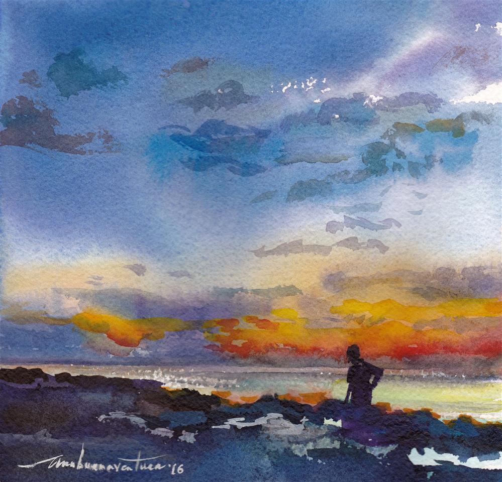 """Sunrise Runner"" original fine art by Ann Buenaventura"