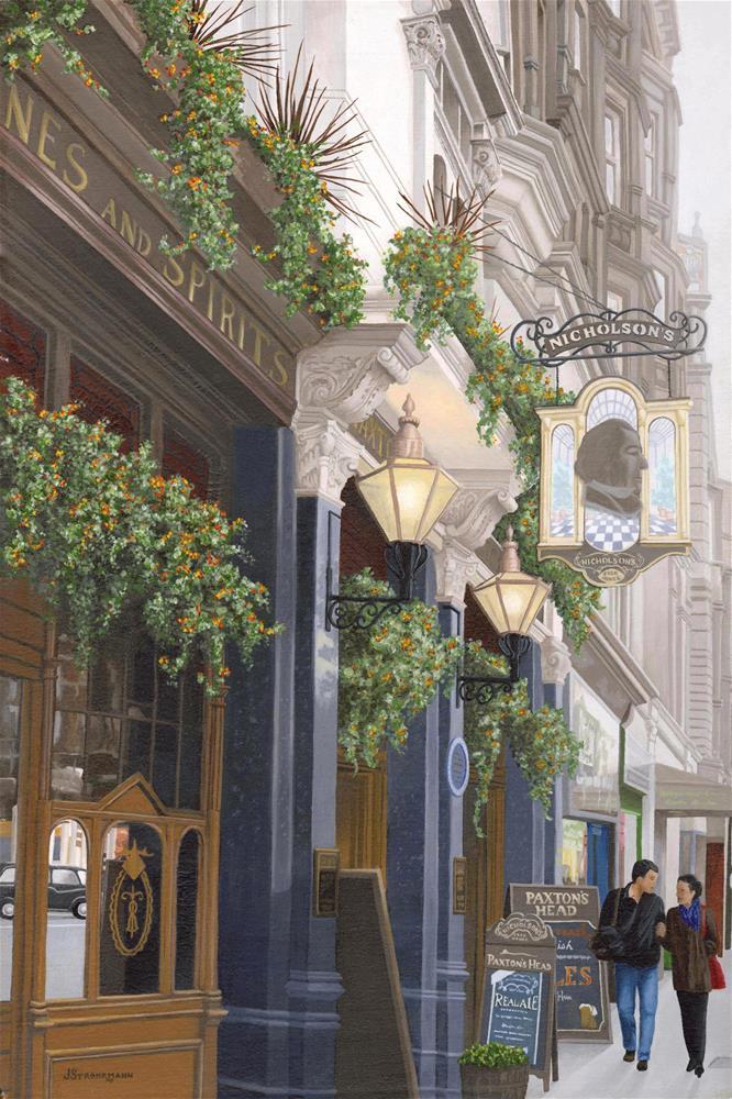 """""""A Stroll in London"""" original fine art by Jeanne Strohrmann"""