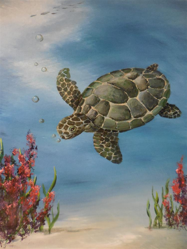 """Sea Turtle"" original fine art by Terri Nicholson"