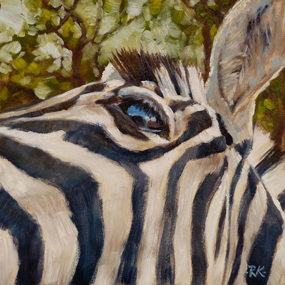 """Zebra Close Up"" original fine art by Rita Kirkman"