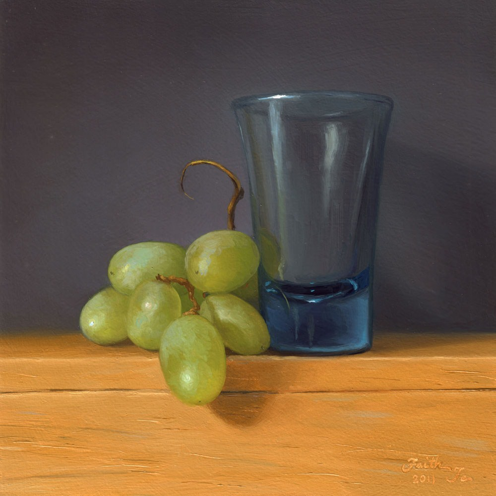 """Green Grapes with Blue Glass"" original fine art by Faith Te"