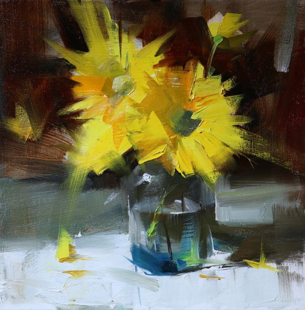 """Yellow Chrysanthemums"" original fine art by Qiang Huang"