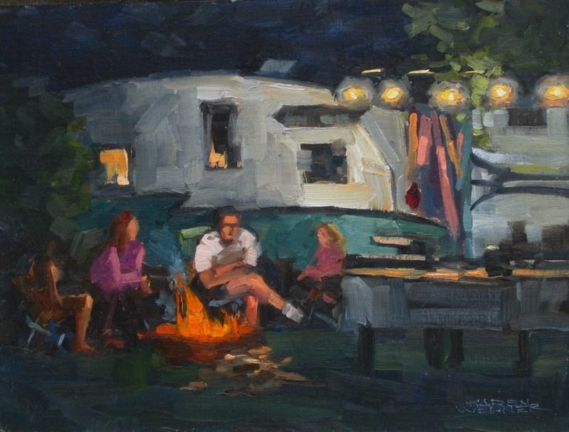 """""""Campfire"""" original fine art by Karen Werner"""