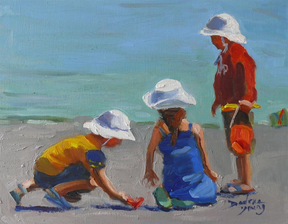 """More Beach Kids"" original fine art by Darlene Young"